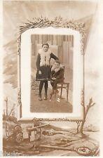 BJ371 Carte Photo vintage card RPPC Enfant mode fashion cadre armée canon guerre