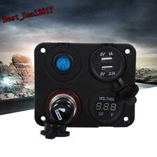 12V Boat Car RV Voltmeter Dual USB Charger Port Power Socket 4Hole Panel Switch