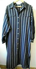 Marks & Spencers Shirt Dress Uk20 - 22 Long / Candy Striped Blue & White Classic