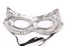 Silver Tone Face Mask Sequined Cat Women Halloween Costume Party Accessory(S609)