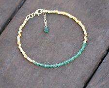 Natural Emerald Bracelet in Yellow Gold Vermeil Bali Beads , 20th Anniversary
