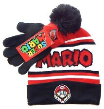 SUPER MARIO BROS NINTENDO Boys Knit Winter Beanie Hat & Gloves Set w/Pom-Pom $24