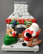 Partylite Santa Fireplace Chimney Rocking Chair Bag Toys Tea Light Candle Holder