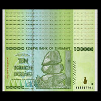 Lot 10 PCS, Zimbabwe 10 Trillion Dollars, AA/2008 Series, P-88, Banknotes, UNC