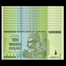 Lot 10 Pcs, Zimbabwe 10 Trillion Dollars, Aa/2008 Series, P-88, Unc,1/10 Bundle