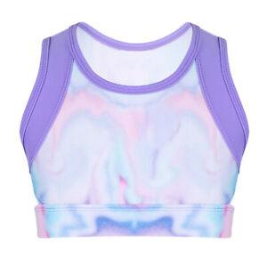 Kids Girls Sport Dance Crop Top Stretchy Top+Shorts Ballet Gymnastics Dancewear