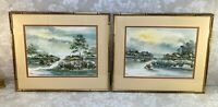 Pair of Asian Framed Watercolors Signed Thong 1977 Professionally Framed Matted