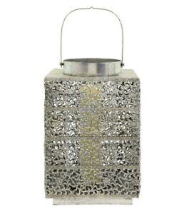 Large Silver Garden Lantern Candle Holder Indoor Outdoor