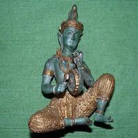 Alt Schwer Solid Bronze Patiniert Buddha Figur: Trommel Buddha 15.9cm C