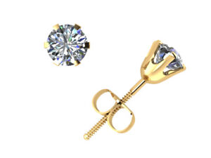 Real 0.40Ct Round Cut Diamond Stud Earrings 14Kt Gold 6Prong Set J I1 ScrewBack