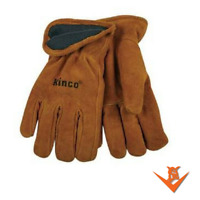 KINCO 50RL Mens Suede Cowhide Leather Gloves, Heat Keep Thermal Lining L-XL