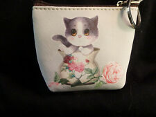 "Cat Change Purse key holder, 4"" wide by 3"" tall by 1"" deep,cat is on both sides"