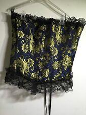 Women's Plus Size 3X Bustier Corset Black Blue Gold Embroidered Lace