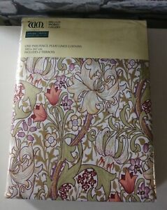 William Morris Golden Lily  Lined Curtains &Two Tie Backs 66 x 72in  Brand New