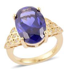 Diseñador Blanco Azul VVS Diamante simulant 14k Amarillo Oro Sobre