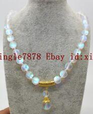 Pretty 10mm White Gleamy Rainbow Moonstone Round Gemstone Pendant Necklace 20''