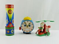 Vintage Tin Metal Toy Lot Wind Up Walking Clock Santa kaleidoscope