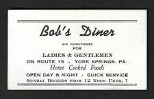 "1950's York Springs,Pa - Bob's Diner ""Colored Preacher's Sermon"" Business Card"