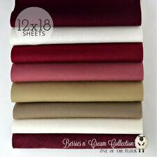 "Berries n Cream Felt Collection, Merino Wool Blend Felt ,Eight 12"" X 18"" Sheets"