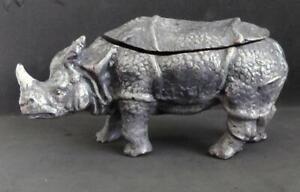 Cold Painted Bronze Rhinoceros Double Inkwell Marked Geschutzt