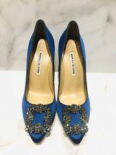 Manolo Blahnik Hangisi Blue Satin Crystal Buckle Heels Shoes