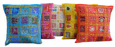 "SET OF 5 INDIAN HANDMADE ZARI WORK 16X16"" COTTON CUSHION COVER ETHNIC"