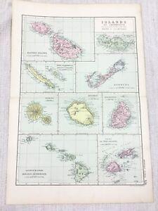 1892 Antique Map of  Bermuda Mauritius Sandwich Islands Fiji Madeira G W Bacon