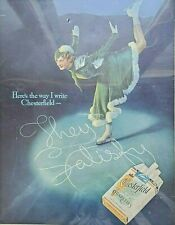 Vintage 1935 Color Chesterfield Cigarettes Ad Poster Woman Ice Skating