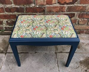 Stag Minstrel Upcycled Vanity Piano Stool William Morris Golden Lily Fabric Blue