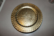 """4 MERITAGE Pavone Gold Lacquer Charger Plates 13""""  Mint Condition Scalloped Rim"""