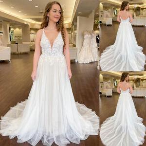 Lace Wedding Dresses Backless Spaghetti Strap Court Train Sleeveless Bohemian