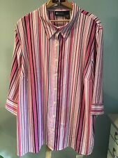 MAGGIE BARNES 2X Pink Striped Blouse Button Down Womens