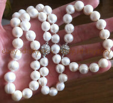 """Baroque Pearl Necklace 20"""" Bracelet 8"""" Natural 12-14Mm South Sea Genuine White"""