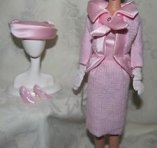 BARBIE VINTAGE REPRO REPRODUCTION FASHION LUNCHEON PINK DRESS JACKET HAT GLOVES