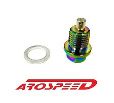AROSPEED 20X1.5MM RACING MAGNETIC OIL DRAIN PLUG BOLT W/ CRUSH WASHER NEO CHROME