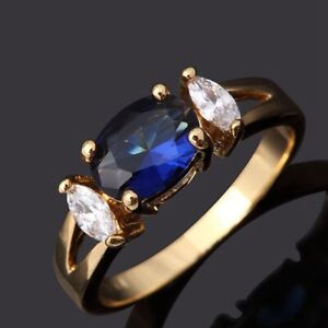 Fantastic Rings For Women Size 9 Engagement Blue Sapphire 18K Yellow Gold Filled