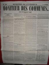 JOURNAL LE MONITEUR DES COMMUNES MINISTERE DE L'INTERIEUR 39 30 SEPTEMBRE 1858