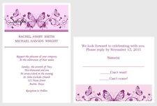 100 Personalized Custom Purple Scroll Butterfly Wedding Invitations Set