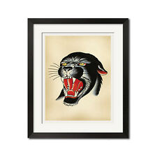 BLACK PANTHER Old School Tattoo Flash Art Poster Print