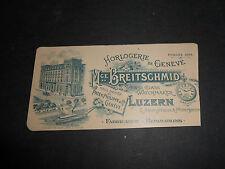 1800 SWITZERLAND HOROLOGERIE M.CE BREITSCHMID FIRST CLASS WATCHMAKER LUZERN