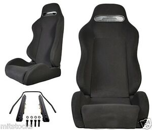 2 BLACK CLOTH RACING SEATS RECLINABLE + SLIDERS PONTIAC NEW **