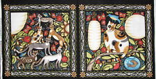 In The Beginning Catkin Kitty Cat Flower Feline Cats 2 Scene Cotton Fabric PANEL