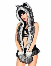 iHeartRaves Husky Rave Spirit Animal Furry Hood Black 2DAY [NO VAT]