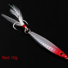 Top Fishing Lure Lead Fish Metal Jigging Wobbler Crankbaits Bass Feather Hook AU Red 30g