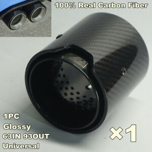 Glossy 63mm - 93mm Carbon Fiber Steel Exhaust Tail Pipe Trim Performance Muffler