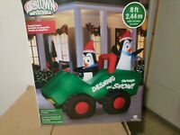 Penguin Patrol on 4 Wheeler 8' Gemmy Airblown Inflatable NEW Christmas