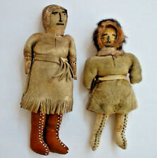 Pair of Antique Old Alaskan Canadian Eskimo Inuit Hand Made Dolls