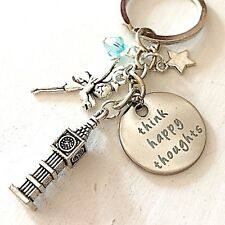 Peter Pan Tinkerbell-Inspired Silver Keychain Think Happy Thoughts Fairy Gift