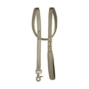 Dog Lead Cognac Brown Premium Genuine Leather - Gold Foil Embossed - Made in USA