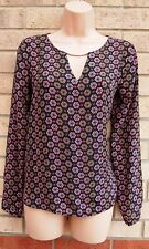 PRIMARK BLACK PINK BLUE BAROQUE SILKY CUT OUT FRONT BLOUSE TUNIC TOP CAMI 6 XS